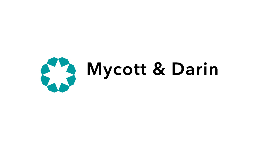 Trademark and logotype Mycott and Darin a colori su bianco